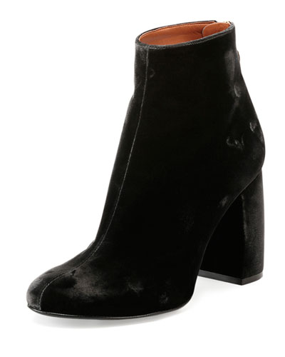 Velvet Curved-Heel Ankle Bootie, Charcoal