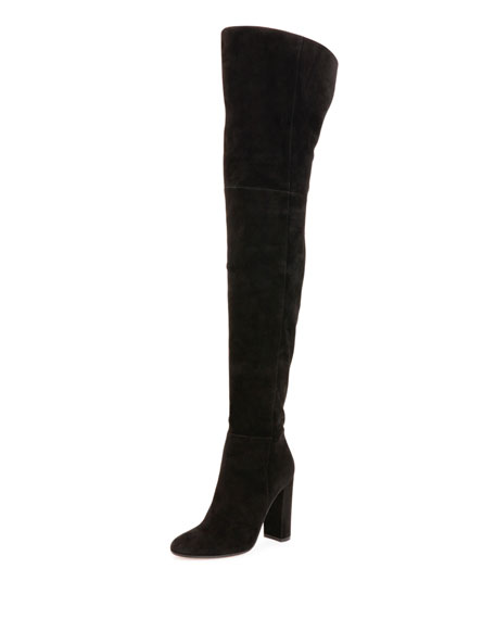 Gianvito Rossi Suede Over-the-Knee Boot, Black