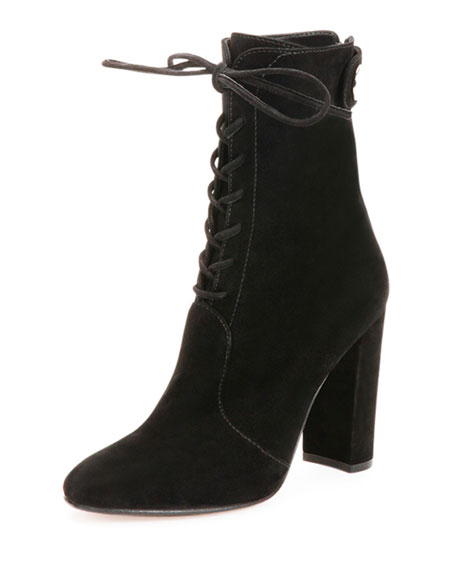 Gianvito Rossi Suede Lace-Up Ankle Boot, Black