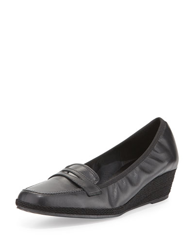 Meryl Leather Loafer Wedge Pump, Black