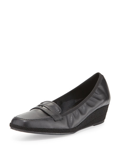 Sesto Meucci Meryl Leather Loafer Wedge Pump, Black