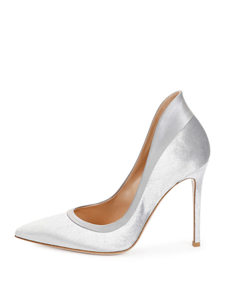 Image 2 of 3: Velvet High-Heel Pump, Silver