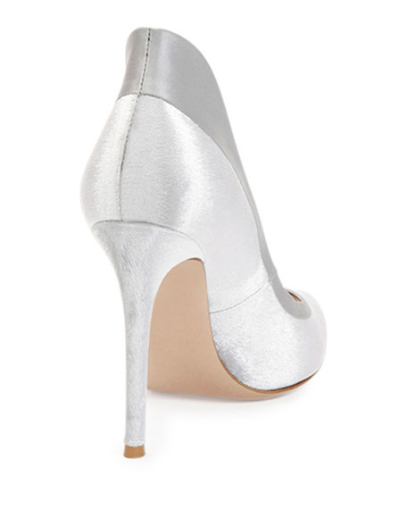 Image 3 of 3: Velvet High-Heel Pump, Silver