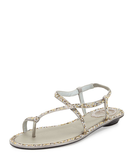 Rene Caovilla Crystal-Embellished Satin Toe-Ring Sandal, Silver
