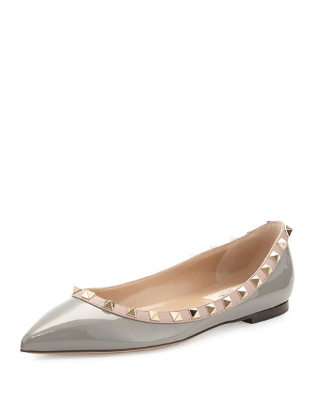 Rockstud Patent Ballerina Flat, Pebble