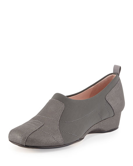 Taryn RoseKuss Demi-Wedge Slip-On Sneaker, Pewter