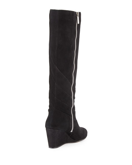 Kalo Suede Wedge Knee Boot, Black