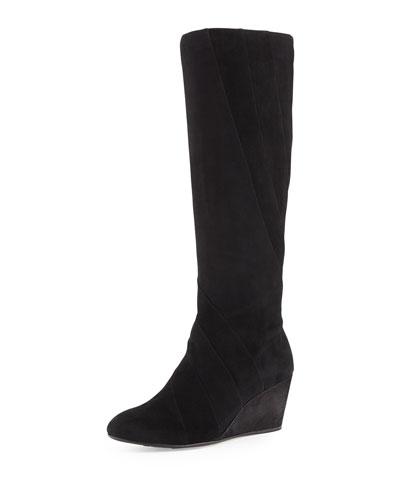 Kalo Suede Wedge Knee Boot, Black