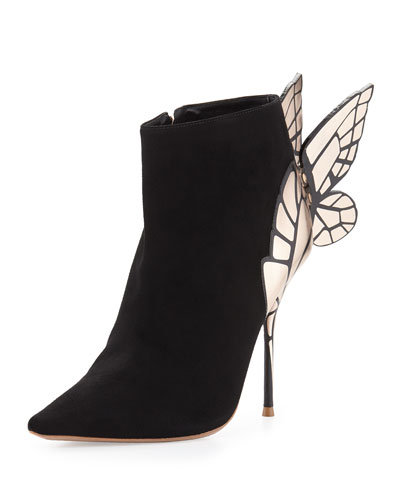 Chiara 3D Butterfly Wing Boot, Black