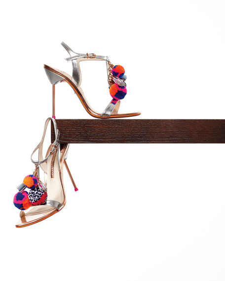 Image 2 of 5: Layla Pom-Pom Metallic Leather Sandal, Silver/Gold