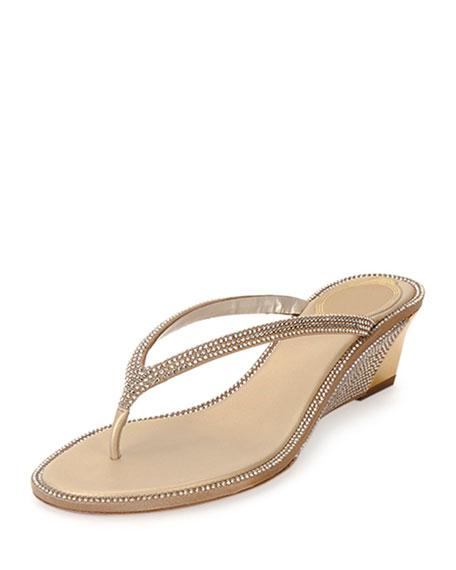 Crystal-Embellished Wedge Thong Sandal, Gold