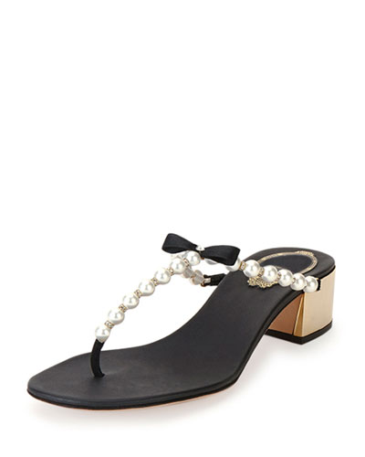 Pearly Bow Thong Sandal, Black