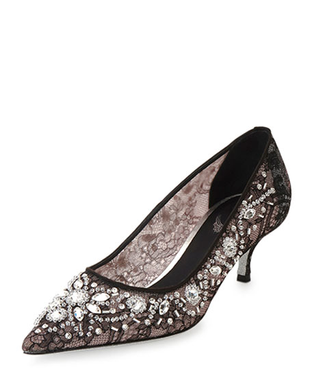 Crystal-Lace Mid-Heel Pump, Black