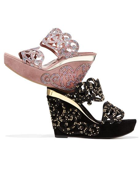Suede & Strass Wedge Slide Sandal, Black/Gold