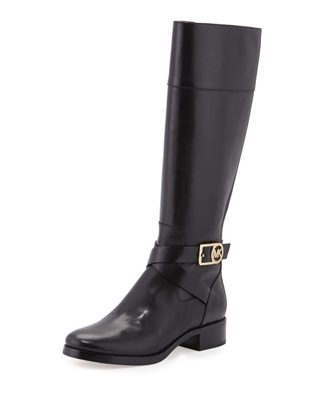 MICHAEL Michael Kors Bryce Leather Riding Boot, Black