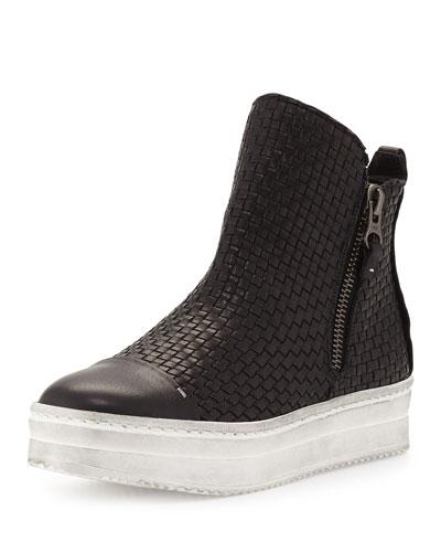Woven Leather Skate Boot, Black (Nero)