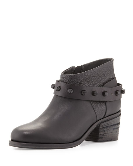 Studded Chunky-Heel Ankle Boot, Black (Nero)