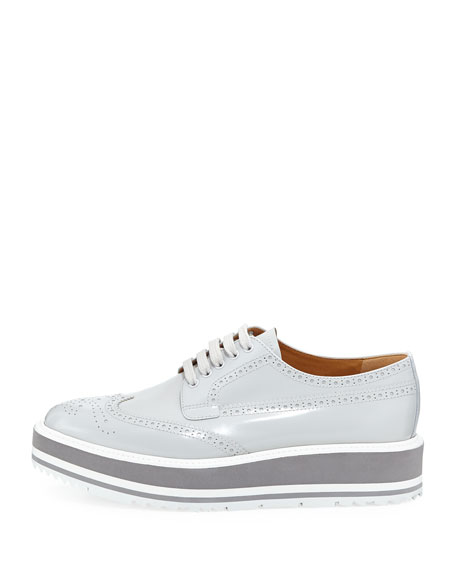 Platform Brogue-Trim Leather Oxford