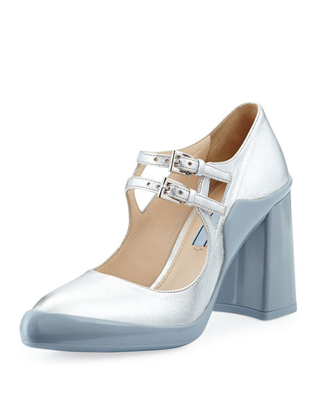 Prada Double-Buckle Mary Jane Pump, Silver/Blue