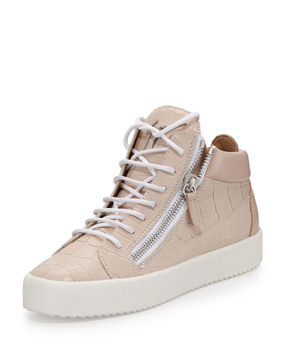 Croc-Embossed Leather Sneaker, Pale Pink (Pallido)