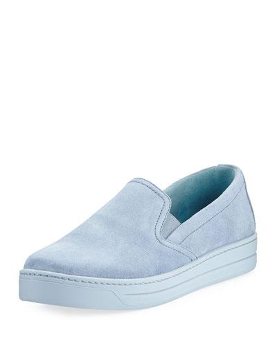 Suede Slip-On Sneaker, Periwinkle (Pervinca)