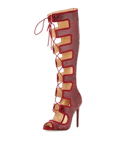Caryne Crocodile Lace-Up Gladiator Sandal, Vino
