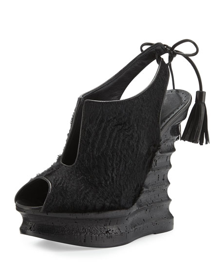 Alexa Wagner Talita Calf-Hair Wedge Sandal, Black