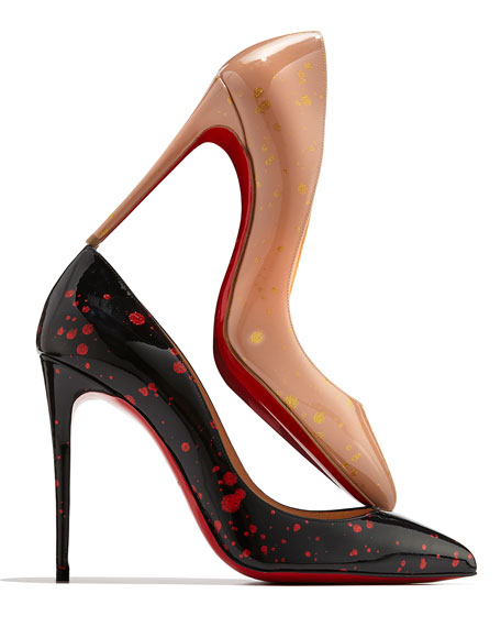 Pigalle Follies Flecked Red Sole Pump, Black/Red