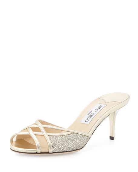 Jimmy Choo Daze Glittered Slide Sandal, Champagne