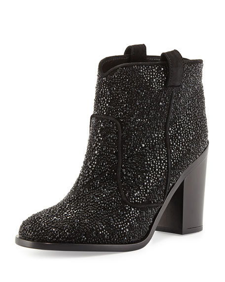 Laurence Dacade Pete Strass Suede Ankle Boot, Black