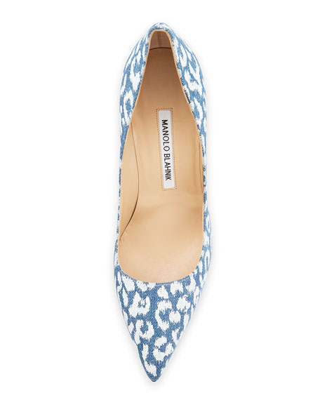 BB Printed Denim 105mm Pump, Leopard