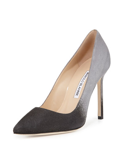 BB Degrade Suede 105mm Pump, Gray