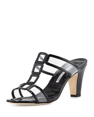 Dico Patent & PVC Sandal, Black