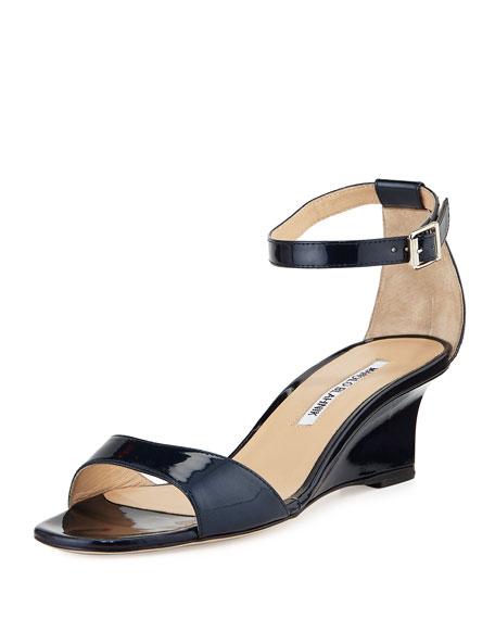 Manolo Blahnik Valtassa Patent Demi-Wedge Sandal, Navy