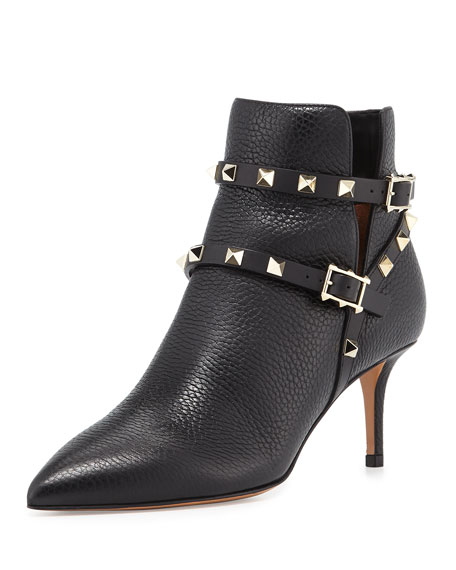 Valentino Rockstud Leather 65mm Ankle Bootie, Black