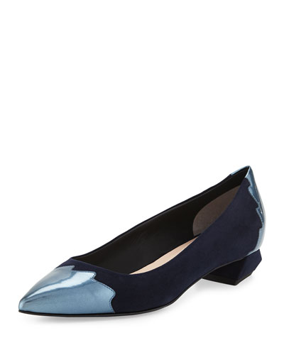 Suede Croc-Tail Skimmer Flat, Blue