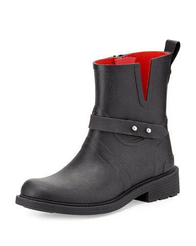 Moto Rubber Rain Boot, Black