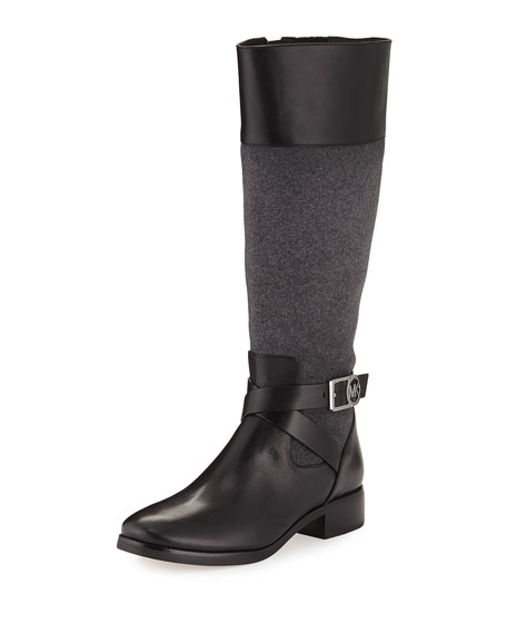 MICHAEL Michael Kors Bryce Flannel/Leather Knee Boot, Black