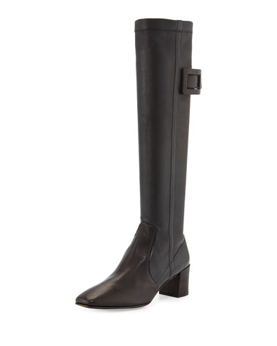 Polly Leather Buckle Knee Boot, Black