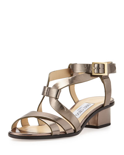 Mitsu Metallic Low-Heel Sandal, Light Bronze