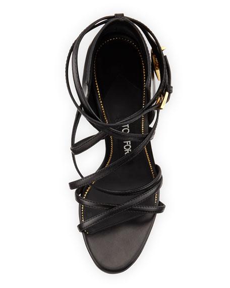 Leather Ankle-Wrap Padlock Sandal, Black