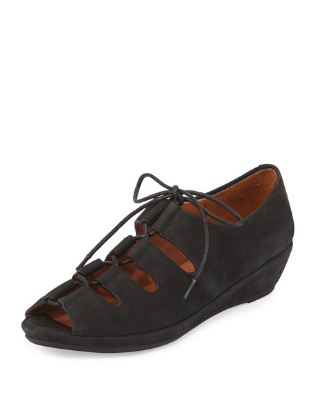 Gentle Souls Vally Lilly Lace-Up Wedge, Black