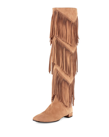 Roger Vivier Prismick Over-the-Knee Fringe Boot, Light Tobacco