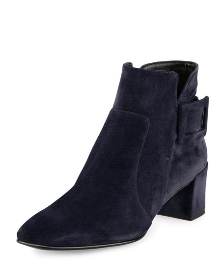 Roger Vivier Polly Suede Ankle Boot, Navy