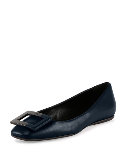 Leather Ballerine Buckle Flat, Navy