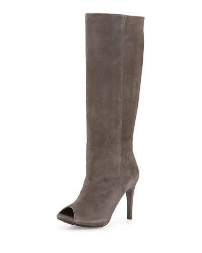 Sarina Peep-Toe Suede Knee Boot, Fox