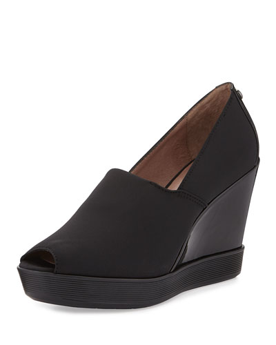 Cari Peep-Toe Wedge, Black
