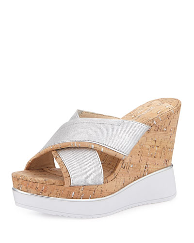 Pacific Metallic Wedge Sandal, Silver