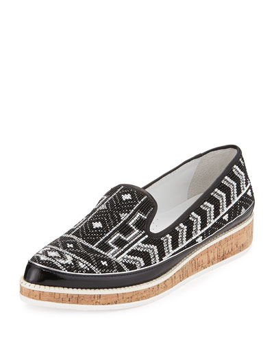Braysp Beaded Leather Loafer, Black Multi