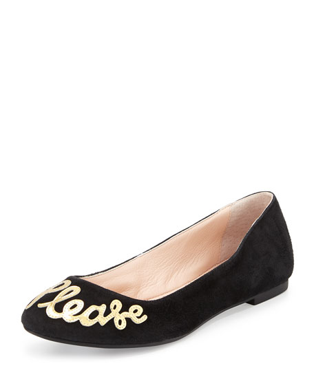 """willow """"yes please"""" Ballet Flat, black"""